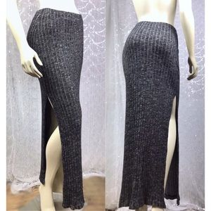 Ambiance Womens Side Slit Grey Maxi Skirt